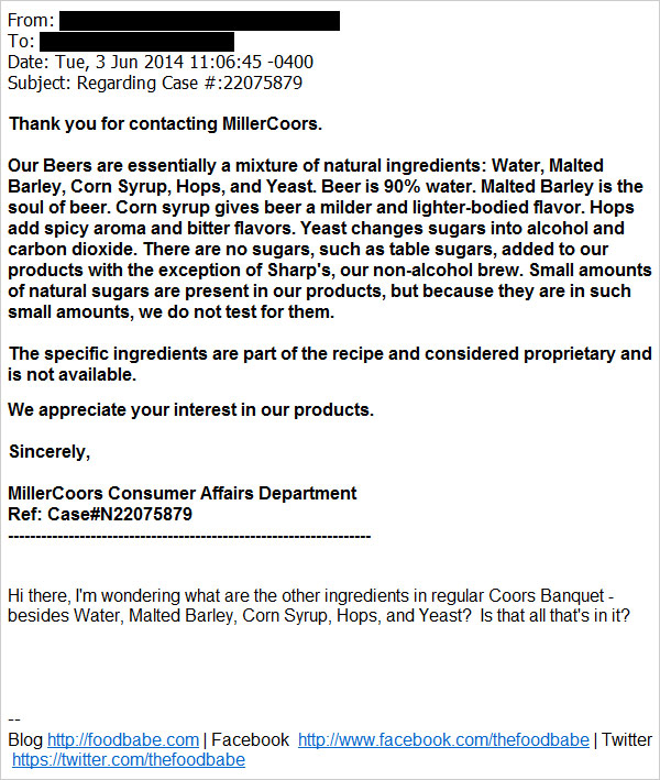 Delightful As You Can See From This Email, The Ingredients List First Given Out By  MillerCoors Was,  Design Ideas