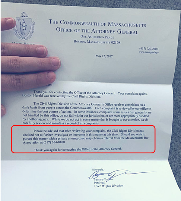 "Massachusetts Attorney General says it's okay for mainstream media to publish death threats against ""anti-vaxxers"" Letter-Office-of-the-Attorney-General-Boston-Herald-600"