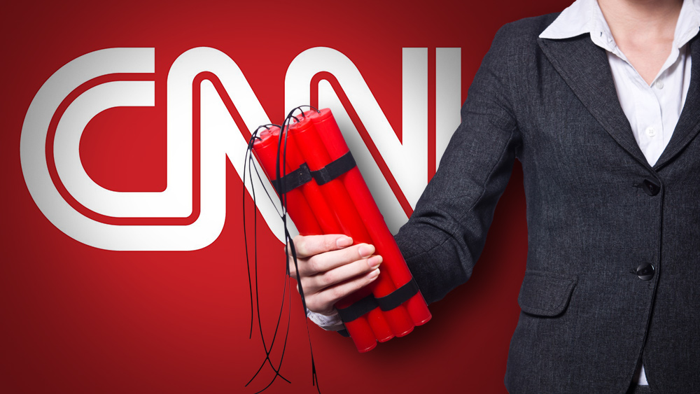 "Image: Deep state rolls out staged ""bomb"" attack on CNN headquarters, just as Mike Adams and Alex Jones publicly predicted on multiple video broadcasts"