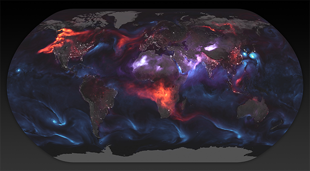 Image: A new map of Earth: Here's what our planet looks like with the aerosols from wildfires and dust circulating our globe
