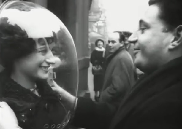 Image: Old-school smog solution: Wear a giant fishbowl on your head
