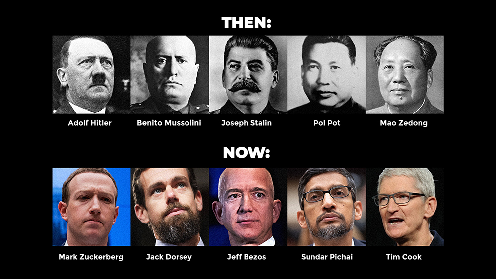 "Image: New meme: ""Enemies of Humanity"" compares Jack Dorsey, Mark Zuckerberg, Tim Cook to Hitler, Mussolini, Stalin and others"