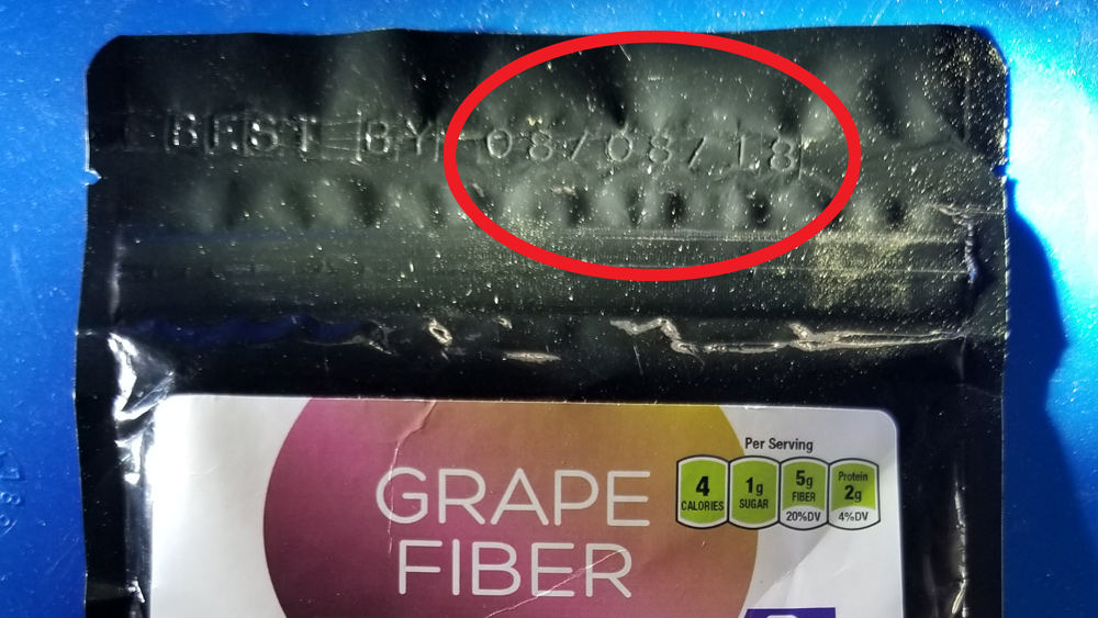 "Image: Natural News investigation finds Amazon.com shipping LONG EXPIRED superfoods: ""Grape Fiber powder"" expired in 2018, shipped as new in 2020"